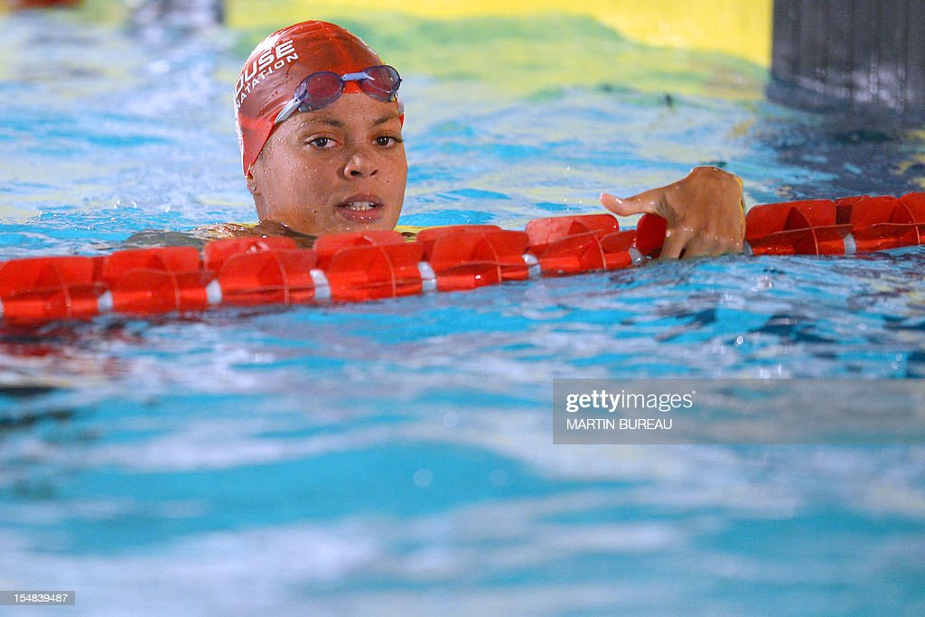 French swimmer Coralie Balmy attends the 2012 Autumn Swimming meeting on October 27, 2012 in Compiegne, north of Paris.