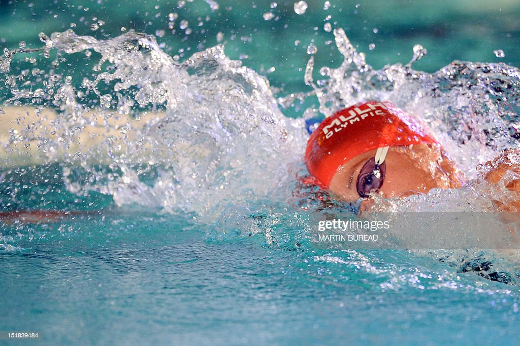 French swimmer Coralie Balmy competes during the 2012 Autumn Swimming meeting on October 27, 2012 in Compiegne, north of Paris. AFP PHOTO MARTIN BUREAU