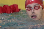 French swimmer Eric Ress competes in the men's 200m backstroke semifinal of the French swimming championships in Chartres on April 12 2014 AFP...