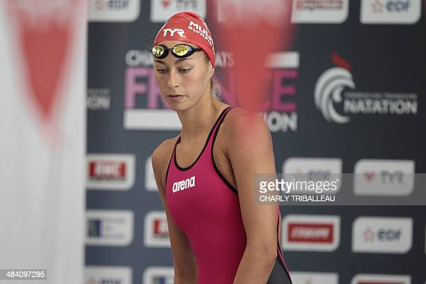 French swimmer Fantine Lesaffre arrives to compete in the women's 200m medley final heat of the French swimming championships in Chartres on April 11...