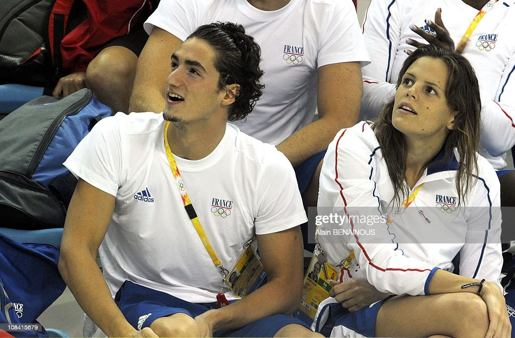 French swimmer Laure Manaudou and boyfriend Benjamin Stasiulis during the qualifications at the Olympic National Aquatic Center in Beijing China on...