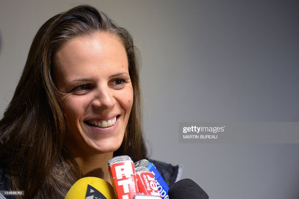 French swimmer Laure Manaudou answers journalists' questions on October 27, 2012 in Compiegne, north of Paris, during the 2012 Autumn Swimming meeting. French swimmer Laure Manaudou, the Olympic 400m freestyle champion at the 2004 Athens Games, will retire for a second time after next month's European Championships, the Le Courrier Picard newspaper reported.