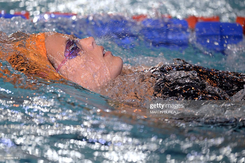 French swimmer Laure Manaudou competes during the 2012 Autumn Swimming meeting on October 27, 2012 in Compiegne, north of Paris. French swimmer Laure Manaudou, the Olympic 400m freestyle champion at the 2004 Athens Games, will retire for a second time after next month's European Championships, the Le Courrier Picard newspaper reported. AFP PHOTO MARTIN BUREAU