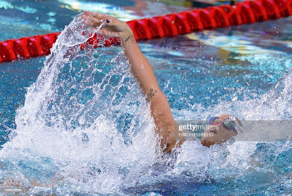 French swimmer Laure Manaudou competes in the women's 200m backstroke semi-final at the European Short Course Swimming Championships on November 22, 2012 in Chartres.