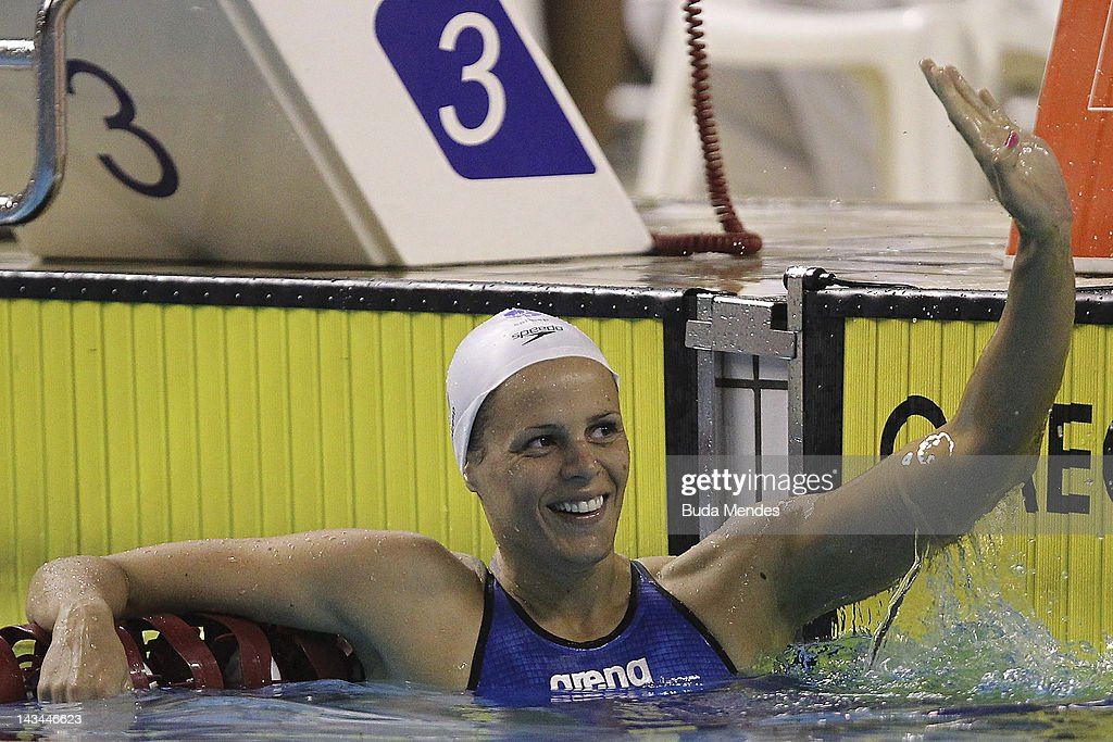 JANEIRO BRAZIL APRIL 26 French swimmer Laure Manaudou during 200m backstroke as part of Maria Lenk Swimming Trophy on April 26 2012 in Rio de Janeiro...
