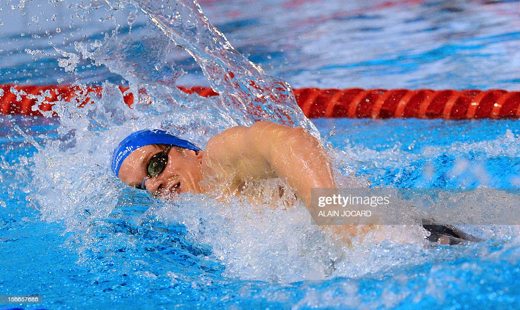 French swimmer Yannick Agnel competes during his 200m freestyle final as part of the swimming French championships on November 18, 2012, in Angers, western France.
