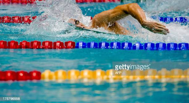 French swimmer Yannick Agnel competes in the 200m freestyle event on the second day of the Swimming World Cup in Eindhoven The Netherlands on August...