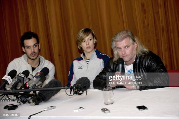 French swimming coach Philippe Lucas and Italian swimmers Federica Pellegrini and Luca Marin give a press conference following their first training...