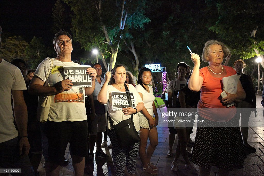 French Sydneysiders gather for a minute's silence to coincide with France to remember victims of the Paris Massacre at Hyde Park on January 8 2015 in...