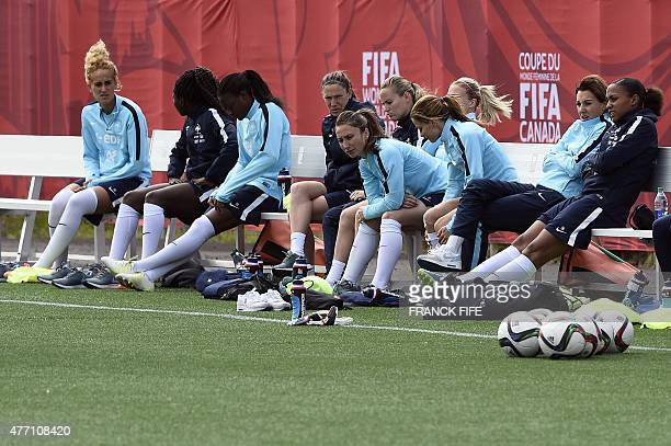 French team members midfielder Kheira Hamraoui defender Griedge Mbock Bathy forward Kadidiatou Diani midfielder Elise Bussaglia goalkeeper Meline...