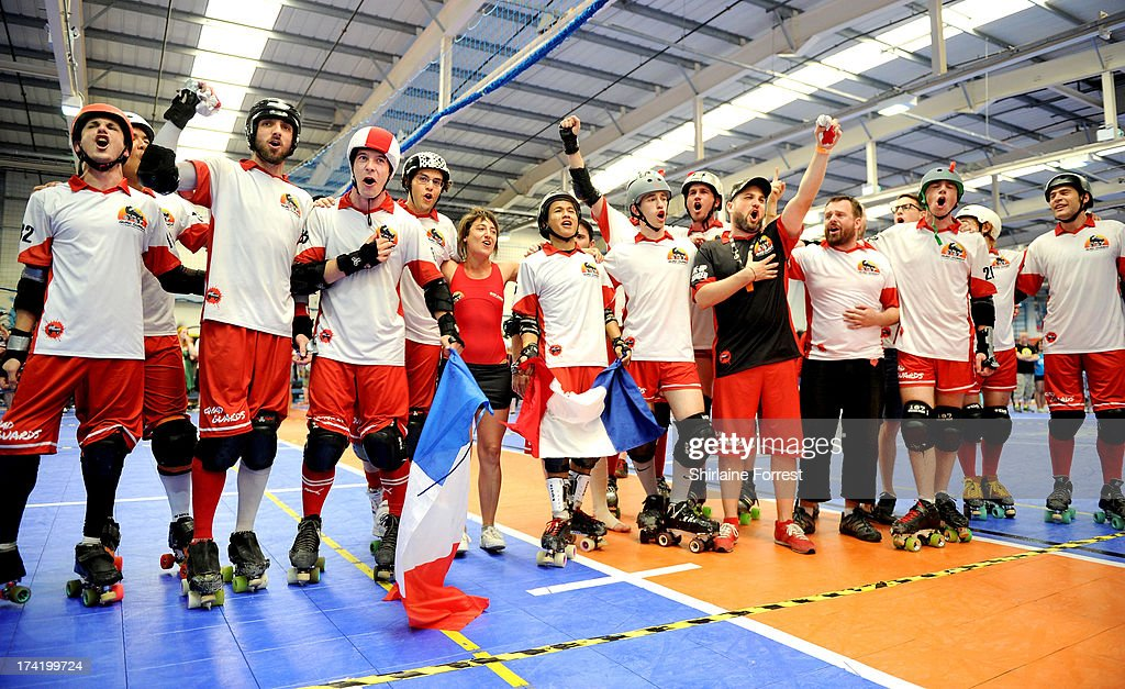 French team Quad Guards celebrate winning the Mens European Roller Derby Championships at Futsal on July 21, 2013 in Birmingham, England.