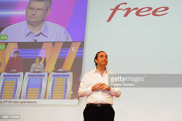 French telecom and Internet company Iliad founder deputy Chairman of the Board of Directors and Chief Strategy Officer Xavier Niel presents the new...