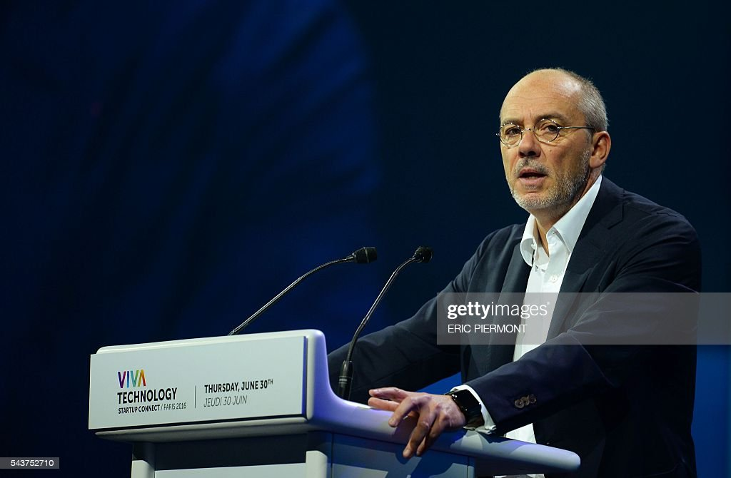 French telecom group Orange Chairman and CEO Stephane Richard addresses the opening of Viva Technology event in Paris on June 30, 2016. / AFP / ERIC