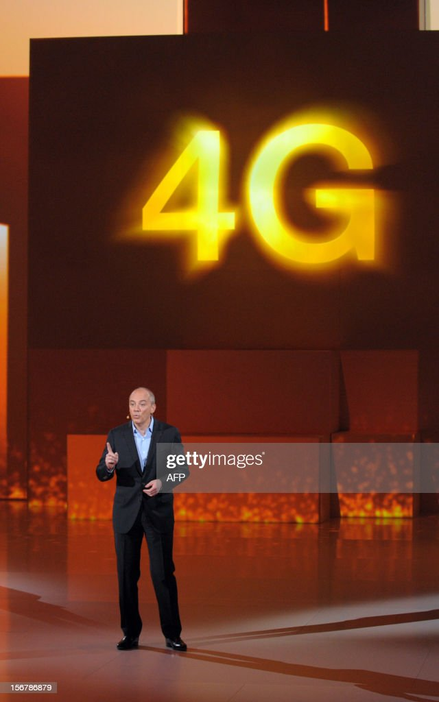French telecom group Orange-France Telecom CEO, Stephane Richard speaks during a press conference to unveil telecom provider Orange latest innovations on November 21, 2012 in Saint-Denis, suburbs of Paris. Richard annouced that the super-fast 4G mobile Internet service will be available for companies on November 22 in the French cities Lyon, Nantes and Lille.
