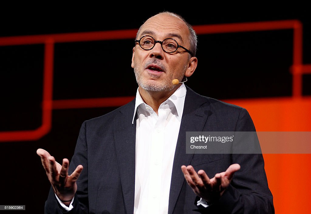French telecom operator Orange CEO, Stephane Richard delivers a speech during the 'Orange Hello 4' show at Carrousel du Louvre on March 16, 2016 in Paris, France. Stephane Richard presents the new innovations of the company.
