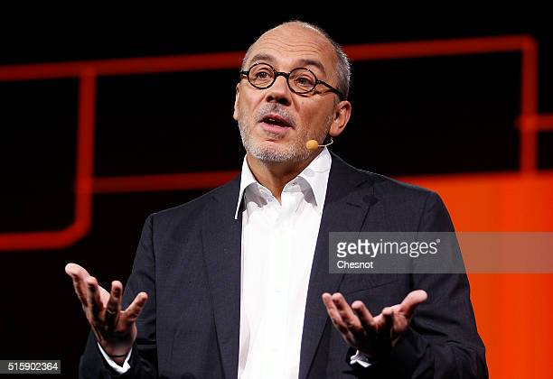 French telecom operator Orange CEO Stephane Richard delivers a speech during the 'Orange Hello 4' show at Carrousel du Louvre on March 16 2016 in...