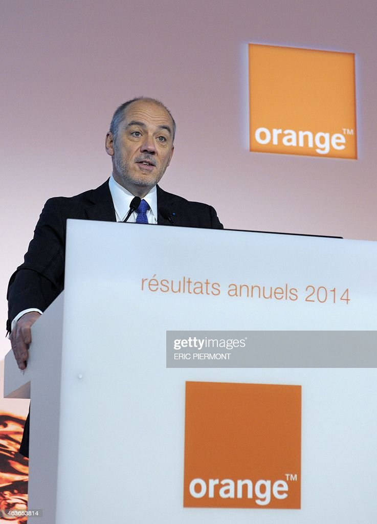 French telecom operator Orange CEO Stephane Richard presents the groups 2014 results in Paris on February 17, 2014. AFP PHOTO / ERIC PIERMONT