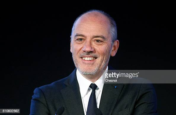 French telecom operator Orange CEO Stephane Richard presents the group's 2015 results on February 16 2016 in Paris France Orange group has multiplied...