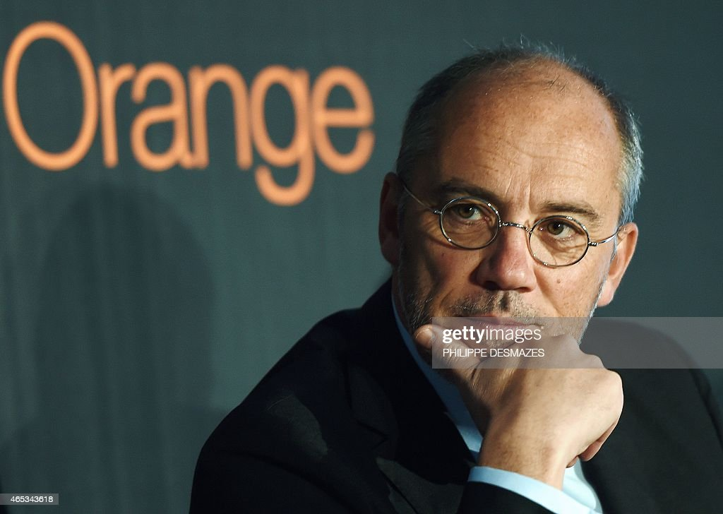 French telecom operator Orange CEO Stephane Richard speaks during a visit at the French telecom operator Orange company in Villeurbanne near Lyon, on February 6, 2014.
