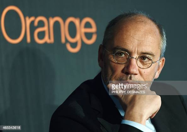 French telecom operator Orange CEO Stephane Richard speaks during a visit at the French telecom operator Orange company in Villeurbanne near Lyon on...