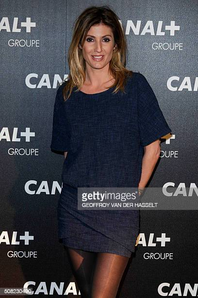 French television channel D8 journalist Caroline Ithurbide arrives for the gala soiree organised by French television Groupe Canal in Paris on...