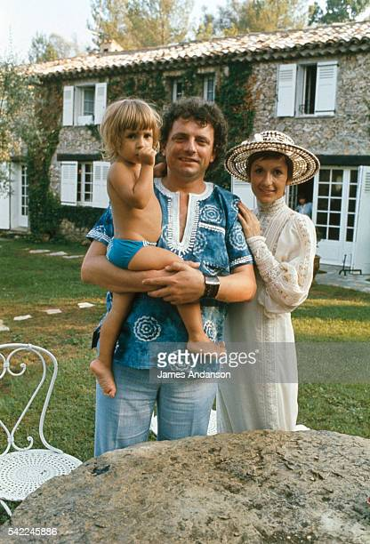 French television personality Jacques Martin his partner French actress Daniele Evenou and their son Frederic on summer vacation near Saint Tropez...