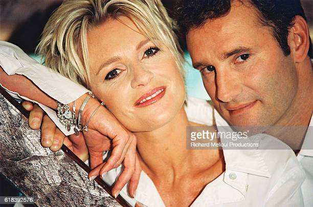 French television presenter Sophie Davant and sports presenter husband Pierre Sled enjoy some spare time in their Normandy home