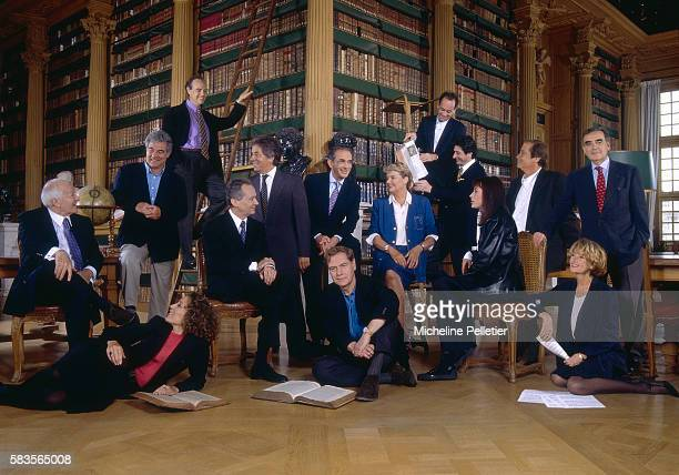 French television presenters united for a photo shoot in a library Jacques Chancel Georges Pernoud Mireille Dumas Frederic Mitterrand JeanMarie...
