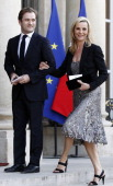 French television show host Laurence Ferrari and her husband violonist Renaud Capucon arrive at the Elysee palace to attend a diner in honour of...