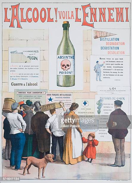A French temperance poster from circa 1910 translates as Alcohol Here Is the Enemy
