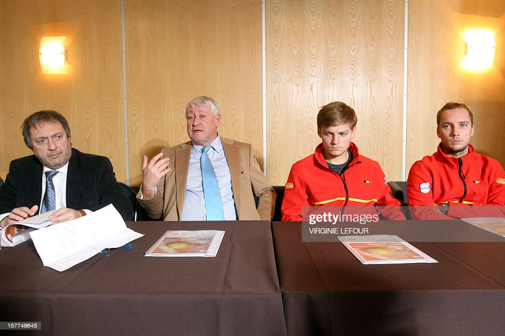 French Tennis Association (AFT) general secretary Pierre Delahaye, Chairman Andre Stein and Belgian tennis players David Goffin and Steve Darcis attend a press conference on December 6, 2012 in Charleroi ahead of the Davis Cup tennis matches between Belgium and Serbia. LEFOUR
