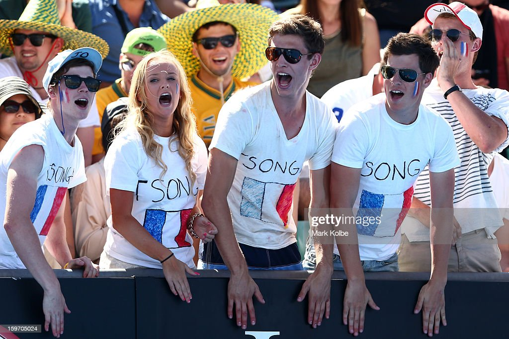 French tennis fans support Jo-Wilfried Tsonga of France in his third round match against Blaz Kavcic of Slovenia during day six of the 2013 Australian Open at Melbourne Park on January 19, 2013 in Melbourne, Australia.