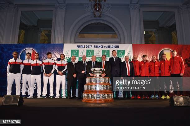 French tennis federation Bernard Giudicelli poses with France's team captain Yannick Noah PierreHugues Herbert Richard Gasquet JoWilfried Tsonga and...