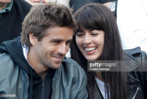 French tennis player Arnaud Clement with his girlfriend and Famous French Singer Nolwenn Leroy attend the Davis Cup Quarterfinals on April 6 2012 in...