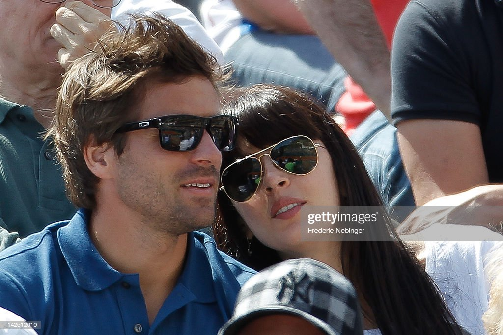 French tennis player <a gi-track='captionPersonalityLinkClicked' href=/galleries/search?phrase=Arnaud+Clement&family=editorial&specificpeople=203192 ng-click='$event.stopPropagation()'>Arnaud Clement</a> with his girlfriend and French singer <a gi-track='captionPersonalityLinkClicked' href=/galleries/search?phrase=Nolwenn+Leroy&family=editorial&specificpeople=4343653 ng-click='$event.stopPropagation()'>Nolwenn Leroy</a> at the Davis Cup Quarter-finals on April 6, 2012 in Monaco, Monaco.