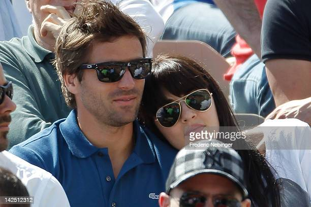 French tennis player Arnaud Clement with his girlfriend and French singer Nolwenn Leroy at the Davis Cup Quarterfinals on April 6 2012 in Monaco...