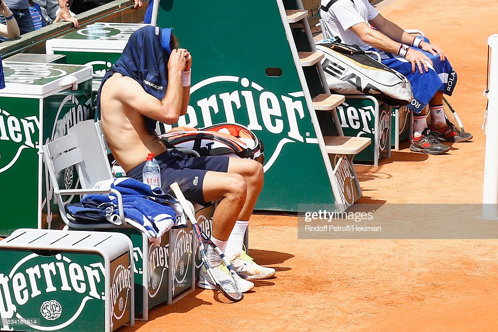 French tennis player <a gi-track='captionPersonalityLinkClicked' href=/galleries/search?phrase=Benoit+Paire&family=editorial&specificpeople=6999938 ng-click='$event.stopPropagation()'>Benoit Paire</a> is pictured during the French Tennis Open at Roland Garros on May 25, 2016 in Paris, France.
