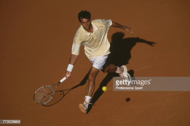 French tennis player Cedric Pioline pictured in action during competition to reach the second round of the Men's Singles tournament at the 2001...