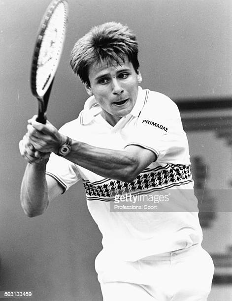 French tennis player Fabrice Santoro in action during a match at the French Open Tennis Championships at Roland Garros in Paris May 1989