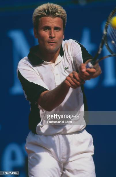 French tennis player Fabrice Santoro pictured in action during competition to reach the quarterfinals of the Men's Singles tournament at the 1998...