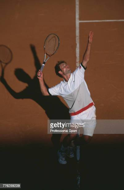 French tennis player Fabrice Santoro pictured in action during competition to reach the fourth round of the Men's Singles tournament at the 2001...
