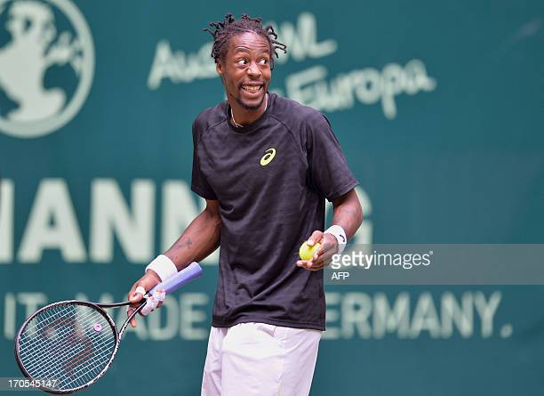 French tennis player Gael Monfils reacts during his match against German Tommy Haas at the ATP Gerry Weber Open tennis tournament in Halle Germany on...
