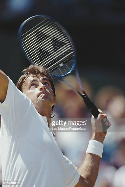 French tennis player Henri Leconte pictured in action competing to reach the fourth round in the Men's Singles tournament at the Wimbledon Lawn...