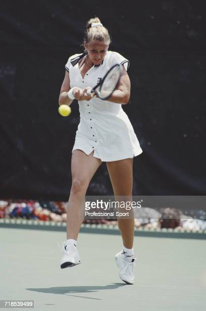 French tennis player Mary Pierce pictured during competition for France to reach the second round of the Women's singles tennis event at Stone...