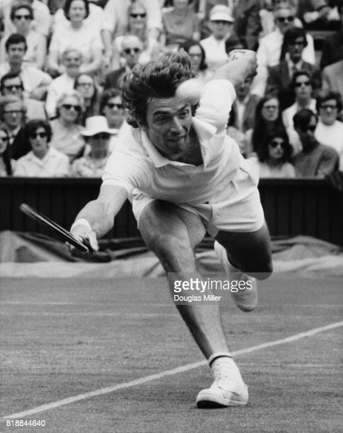 French tennis player Pierre Barthès in play against R Gonzales of the USA at Wimbledon 23rd June 1971