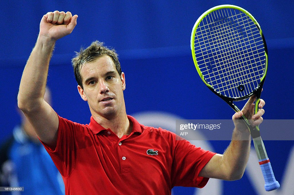 French tennis player Richard Gasquet celebrates after beating his French opponent Benoit Paire during the Open Sud de France world tour ATP Series final tennis match, on February 10, 2013 in Montpellier, southern France. Gasquet won 6-2, 6-3.