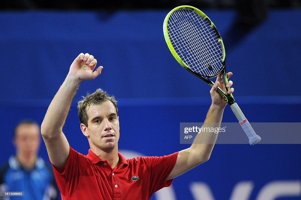 French tennis player Richard Gasquet celebrates after beating his French opponent Benoit Paire during the Open Sud de France world tour ATP Series final tennis match, on February 10, 2013 in Montpellier, southern France. Gasquet won 6-2, 6-3. AFP PHOTO / SYLVAIN THOMAS