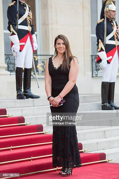 French tennis women Marion Bartoli arrives at the Elysee Palace for a State dinner in honor of Queen Elizabeth II hosted by French President Francois...