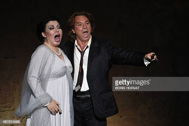 French tenor Roberto Alagna as Manrico and Chinese soprano Hui He as Leonora perform during the opera 'Il Trovatore' by Guiseppe Verdi directed by...