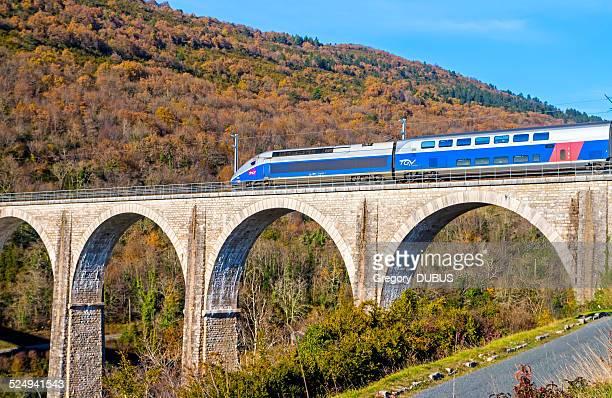 French TGV sur Viaduc du Rhône-Alpes, France